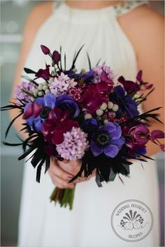 Deep jewel tones stand out in sharp contrast from the wedding gown or just look great in a white vase.