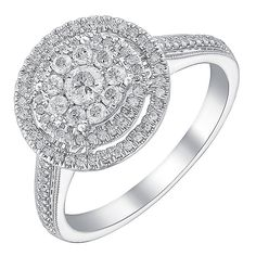 £499 9ct white gold half carat double halo diamond ring - Product number 3723305