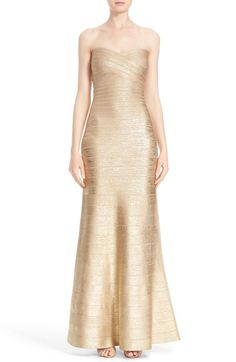 Herve Leger Strapless Foiled Bandage Gown