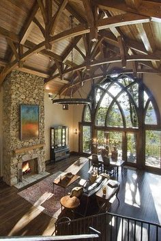 This Square-Foot House Features Cathedral Ceilings and Gothic Windows. -WSJ Source by ScottJoughNJ Style At Home, Gothic Windows, Gothic House, Log Homes, Interior Decorating, Interior Design, Architecture Details, Victorian Architecture, My Dream Home