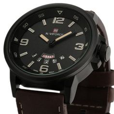 Luxury Brand Military Watches Men Quartz Analog Leather Watches