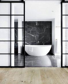 Bathroom by Space Copenhagen. Black marble bathroom floor and bath backdrop. Bad Inspiration, Bathroom Inspiration, Bathroom Ideas, Bathroom Goals, Bathroom Inspo, Bathroom Interior, Modern Bathroom, Minimalist Bathroom, Master Bathroom