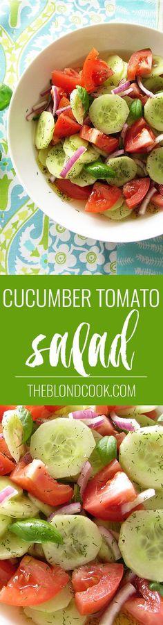 Cucumber Tomato Salad - A healthy salad with a homemade vinaigrette   theblondcook.com: