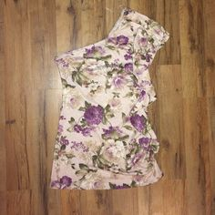 Rue 21 one shoulder top Rue 21 floral one shoulder top. Ruffled down one side. Has belt loops. No trades. Rue 21 Tops