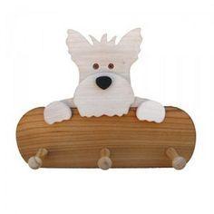 Colgador de madera de fresno Imagen Terrier, disponibles en distintos colores. Teñido con tintes no tóxicos. Precio: 26,20€  http://www.artesania-alla.es