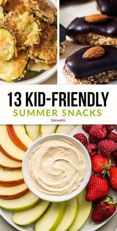 13 Kid-Friendly Summer Snacks Summer Kids Snacks, Protein Snacks For Kids, Healthy Summer Snacks, Snacks Kids, Healthy Desserts, Kids Meals, Love Food, Fun Food, Kid Friendly Meals