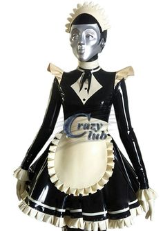 Cheap rubber dress, Buy Quality black and white directly from China dresses dress Suppliers: Sex Women Latex Costume maid Skirt Exotic Apparel with hat 100% pure natural latex handmade black and white costume rubber dress