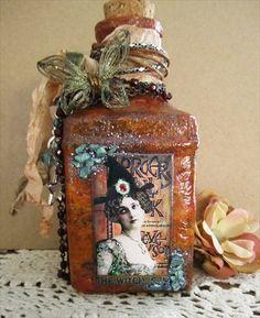 altered art bottles | Altered Bottle- Brown | bottle and soda can art
