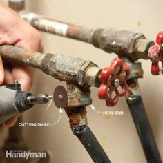 Fix a Stuck Washing Machine Hose - Replace corroded laundry hoses without ruining the valve by slitting them with a Dremel tool so the hose end will release. Smelly Washing Machines, Washing Machine Hose, Dryer Lint Cleaning, Cleaning Hacks, Cleaning Checklist, Washer And Dryer, Plumbing Tools, Appliance Repair, Diy