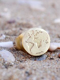 World Map Chevalier handmade pinky ring