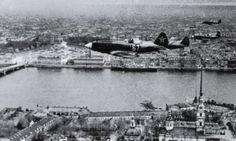 Soviet MiG-3 flying over the Peter and Paul Fortress in Leningrad. August 1941.
