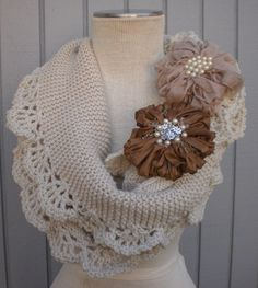 Wedding Shawl / Bride Bolero /Shrug / Ivory Shawl with flowers / Custom Hand Knit