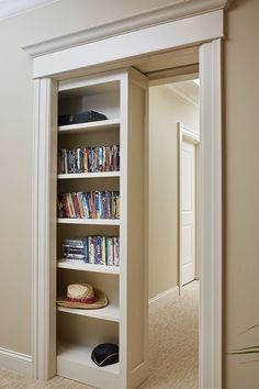 Hidden Door Bookcase, Sliding Shelves, Hidden Spaces, Hidden Rooms In Houses, Pocket Doors, My Dream Home, Home Remodeling, Basement Renovations, Home Projects