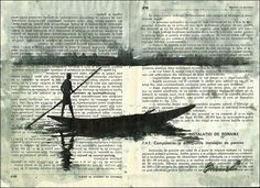 Africa - ink drawing on book pages: