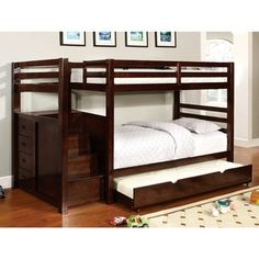 Pine Ridge Espresso Bunk Bed with Drawers and Steps | Overstock™ Shopping - Great Deals on Beds