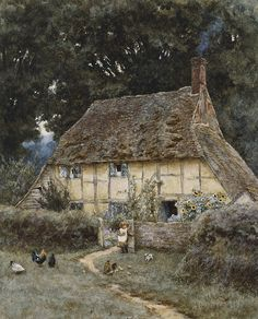 On the Brook Road near Witley Art Print by Helen Allingham. All prints are professionally printed, packaged, and shipped within 3 - 4 business days. Choose from multiple sizes and hundreds of frame and mat options. Storybook Homes, Storybook Cottage, Cottage Art, Cozy Cottage, Cottage Homes, Cottage Style, Painted Cottage, Medieval Houses, Fairytale Cottage