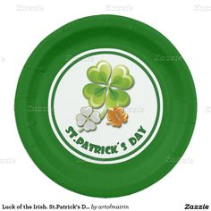 Ireland Flag Colors Shamrocks Design St. Patrick's Day Party Paper Plates. Matching cards, postage stamps and products available in the Holidays / St. Patrick's Day Category of the artofmairin store at zazzle.com