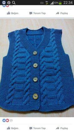 This Pin was discovered by ayş Baby Boy Knitting Patterns, Knitting For Kids, Crochet For Kids, Knitting Designs, Knit Patterns, Knit Crochet, Baby Patterns, Knitted Baby Cardigan, Knit Baby Sweaters