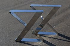 Polished Stainless Steel Metal Zig Zag by CustomTableLegs on Etsy