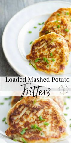 Turn leftover mashed potatoes into a new tasty side dish with all of your favorite toppings into one delicious potato fritter. #potatoes #sides #sidedish Loaded Mashed Potatoes, Leftover Mashed Potatoes, Shredded Potatoes, Cookbook Recipes, Real Food Recipes, Cooking Recipes, Kitchen Recipes, Best Side Dishes, Side Dish Recipes