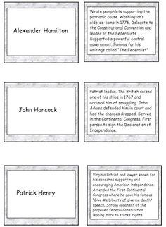 16 pages of Revolutionary War flashcards of notable people. Great for centers, studying for tests and small group activities. Laminate for future use. priced item.