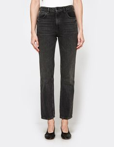 Classic jeans from Denim x Alexander Wang in Grey Aged. High rise. Zip fly with top-button closure. Classic five-pocket styling. Whiskering at thighs and knees. Slim straight leg. Ankle length.   • No-Stretch Denim • 100% cotton • Machine wash cold, t