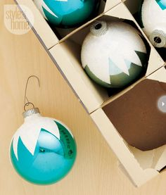 Snowcapped ornaments | Bring an animated look to your Christmas tree with ornaments that appear like snowcaps straight out of the classic movie Rudolph the Red-Nosed Reindeer. [Instructions for this and five other DIY ornaments.]