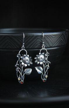 cross modern design leaf shaped symbols Stud drop earrings silver gemstone opal handmade flower contemporary embossed long