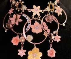 Silver enamel floral necklace choker vintage by artsandadornments
