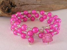 Memory Wire Bracelet, Glass Bead Bracelet, Pink Bracelet, Bead Bracelet Glass, Bead Bracelet Women, Gift for Her, Everyday Jewelry
