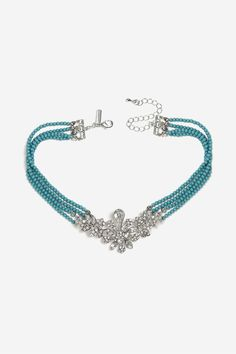 Topshop Turquoise Bead Drop Choker Necklace