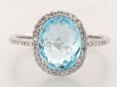 anniversary/push present - blue topaz and diamond halo ring