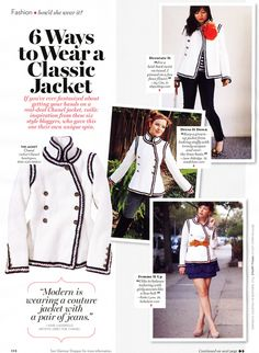Chanel jacket; white with black and gold trim; 2010 Glamour magazine spread