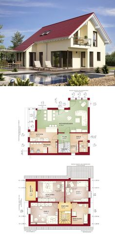 Modernes Haus mit Satteldach // Einfamilienhaus Edition 1 V5 Bien Zenker // Fertighaus bauen 4 Zimmer moderne offene Küche mit Theke & Sitzgelegenheit Terrasse Balkon Fassade Putz ( HausbauDirekt.de )