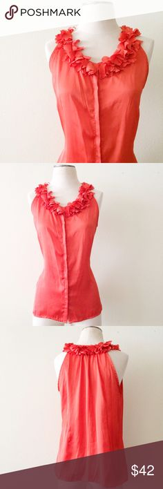 Ruffle Collar Tank EUC. 100% polyester. Milano brand. Listed for exposure. J. Crew Tops