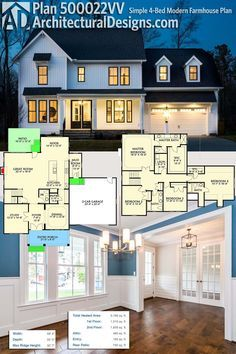 Architectural Designs Modern Farmhouse Plan 500022VV is a simple-to-build home with a winning curb appeal. Inside, you get 4 bedrooms upstairs (and upstairs laundry) and over 3,100 square feet of heated living space. Ready when you are. Where do YOU want to build?