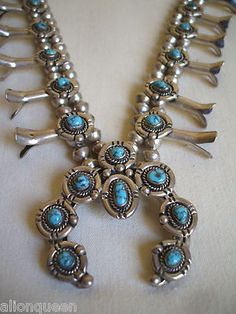 Diminutive VINTAGE NAJAVO Sterling Silver & Turquoise SQUASH BLOSSOM NECKLACE  ******SOLD******