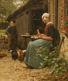At the Farmhouse Door, Willy Martens, not dated, oil on canvas, 24 5/16 in. x 20 3/8 in. Currier Museum of Art.