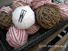 twine and rag ball ornaments. Would also look great with burlap or muslin