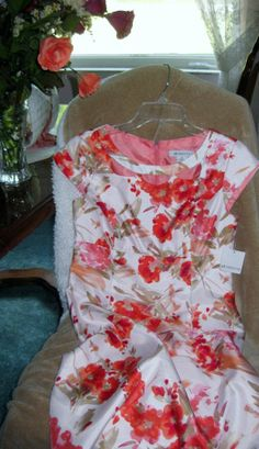 Liz Claiborne Cap-Sleeve Cutout Floral Sheath Dress Coral Size 6