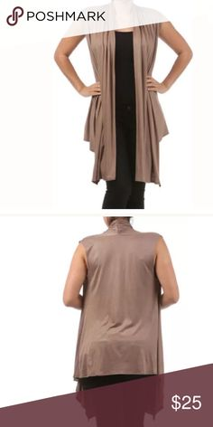 Plus Mocha Sleeveless Cardigan Vest Wrap NEW A MUST HAVE!!  Featuring a soft rayon spandex open sleeveless cardigan vest. Flowly asymmetrical cut. Ruched at the top in the backside. This top can pretty much be layered over almost anything.   Made of: 94% Rayon & 6% Spandex Tops