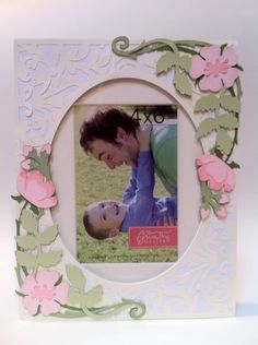 Wild rose frame made using Art Nouveau and Fancy Frames cartridges. Project by Courtney Lane Designs
