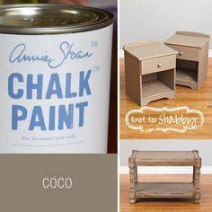 Coco is a warmed grey brown, the color found in old French furniture. When we used this color in our workshop it was a huge hit. Coco looks amazing when you paint two coats then apply a wash of Old White over it, remember to wet surface first before applying the wash, then wipe off.