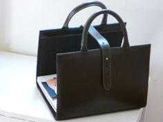 Porte-revues cuir noir