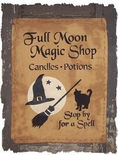 Full Moon Magic Shop Primitive Fall Autumn by oldetimegatherings, $7.95