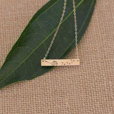 Dandelion Gold-Fill Necklace, Dandelion Necklace, Vertical Bar Necklace, Hand Stamped Dandelion Necklace, Dandelion Spring Necklace