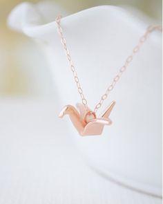 Rose Gold Origami Bird Necklace