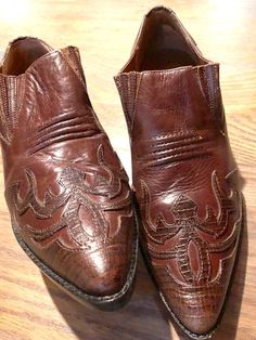 e7cea869e2 Cowboy Ankle Boots Vintage Hunt Club Brown Leather Booties Shoes
