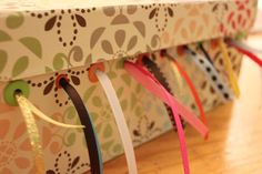 DIY Ideas With Shoe Boxes - Shoebox Ribbon Storage - Shoe Box Crafts and Organizers for Storage - How To Make A Shelf, Makeup Organizer, Kids Room Decoration, Storage Ideas Projects - Cheap Home Decor DIY Ideas for Kids, Adults and Teens Rooms