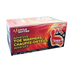 30 pairs of Little Hotties toe warmers, an odourless, air-activated and environmentally safe heat source that provide warmth and comfort in all cold conditions for approximately 5 hours. Little Hotties, Toe Warmers, 5 Hours, Feet Care, Adhesive, Pairs, Pure Products, Toe
